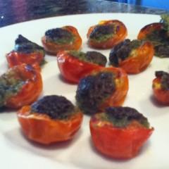 Cherry Tomato Pesto Poppers