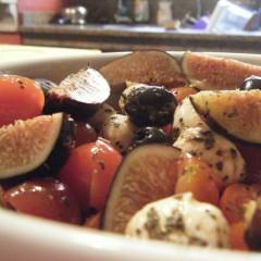 Cherry tomato, mozzarella, fig and black olive salad