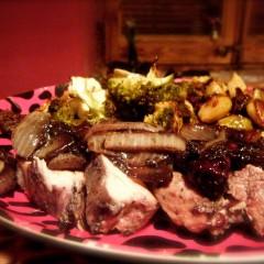 Blackberry Pork Loin and Feta Roasted Broccoli