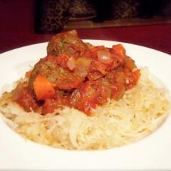 'Spaghetti' and Pesto Meatballs