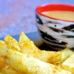 Celeriac Chips and Curry Sauce
