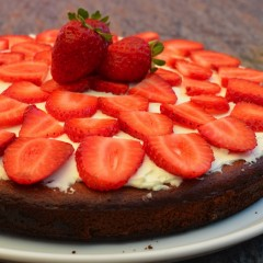 Gluten-free Sugar-free Low carb Strawberry Topped Almond Pound Cake