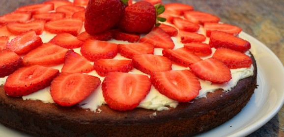 Gluten-free Sugar-free Low carb Strawberry Topped Almond Pound Cake